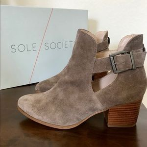 """Sole Society """"Olive"""" Cow Suede Boots, Dark Taupe"""
